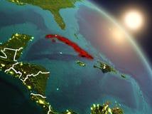 Cuba do espaço durante o nascer do sol Imagens de Stock Royalty Free