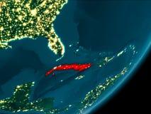 Cuba do espaço na noite Fotos de Stock