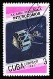 Cuba do 20o aniversário da edição do programa de Intercosmos mostra o satélite do espaço, cerca de 1987 Foto de Stock Royalty Free