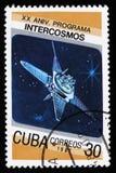 Cuba do 20o aniversário da edição do programa de Intercosmos mostra o satélite do espaço, cerca de 1987 Imagem de Stock