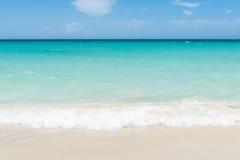 Cuba dream beach with wave foams Royalty Free Stock Photos