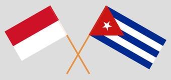 Cuba e l'Indonesia Le bandiere cubane ed indonesiane Colori ufficiali Proporzione corretta Illustrazione di vettore royalty illustrazione gratis