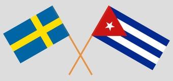 Cuba e la Svezia Le bandiere cubane e svedesi Colori ufficiali Proporzione corretta Vettore illustrazione vettoriale
