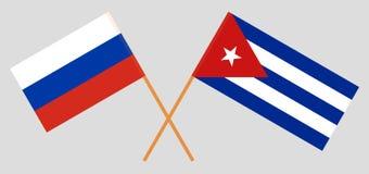 Cuba e R?ssia As bandeiras do cubano e do russo Cores oficiais Propor??o correta Vetor ilustração royalty free