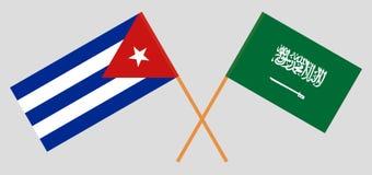 Cuba e reino de Arábia Saudita O cubano e bandeiras de KSA Cores oficiais Propor??o correta Vetor ilustração do vetor