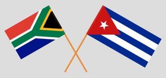 Cuba e RSA O cubano e sul - bandeiras africanas Cores oficiais Propor??o correta Vetor ilustração royalty free
