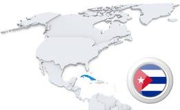Cuba em um mapa de America do Norte ilustração royalty free
