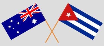Cuba en Australi? De Cubaanse en Australische vlaggen Offici?le kleuren Correct aandeel Vector stock illustratie
