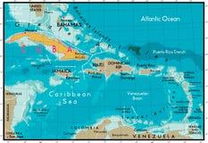 Cuba en Caraïbische Zee. Stock Afbeelding