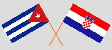 Cuba en Kroatië De Cubaanse en Kroatische vlaggen Offici?le kleuren Correct aandeel Vector stock illustratie