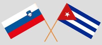Cuba en Slovenië De Cubaanse en Sloveense vlaggen Offici?le kleuren Correct aandeel Vector royalty-vrije illustratie