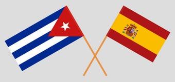 Cuba en Spanje De Cubaanse en Spaanse vlaggen Offici?le kleuren Correct aandeel Vector vector illustratie