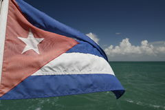 Cuba flag. A cuba flag in a boat at the caribbean sea Stock Photo