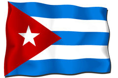 Cuba Flag. Waving flag of Cuba isolated on white Vector Illustration