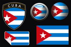 Cuba  flag. Ector cuba grest flag with web button and label Royalty Free Stock Photo