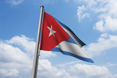 Cuba Flag with Clouds Royalty Free Stock Photo