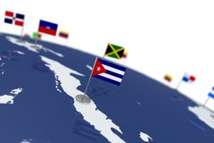 Cuba flag. Country flag with chrome flagpole on the world map with neighbors countries borders. 3d illustration rendering Stock Illustration