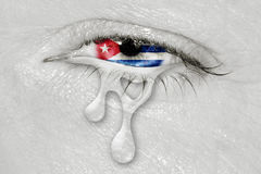 Cuba Flag in Crying eye Royalty Free Stock Photos