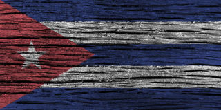 Cuba flag with high detail of old wooden background. 3D illustration Stock Images