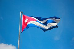 Cuba flag over the sky Stock Images
