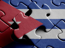 Cuba FLAG PAINTED ON PUZZLE nice Royalty Free Stock Images