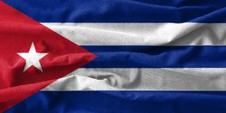 Cuba flag painting on high detail of wave cotton fabrics. 3D illustration Stock Photo
