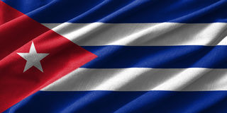 Cuba flag painting on high detail of wave cotton fabrics . 3D illustration Stock Photography