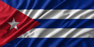 Cuba flag painting on high detail of wave cotton fabrics. 3D illustration Stock Images