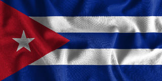Cuba flag painting on high detail of wave cotton fabrics . 3D illustration Royalty Free Stock Photography