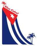 Cuba flag and palm, illustration Royalty Free Stock Photos