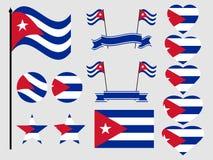Cuba flag set. Collection of symbols, flag in heart. Vector Stock Photos