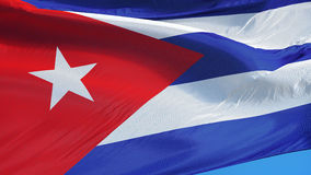 Cuba flag in slow motion seamlessly looped with alpha stock video footage