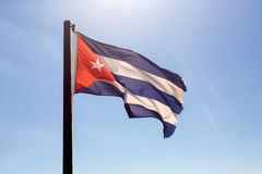 Cuba flag waving on the wind.  Stock Photo