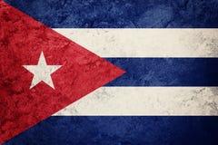 cuba flaggagrunge Kubansk flagga med grungetextur Royaltyfria Bilder