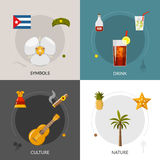 Cuba 4 Flat Icons Square Composition Stock Photography