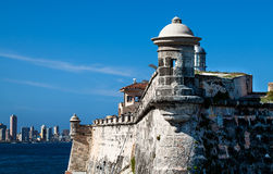 Cuba Fortress with Havana Skyline Royalty Free Stock Photos
