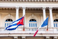 Cuba - France, Flags in Havana royalty free stock image
