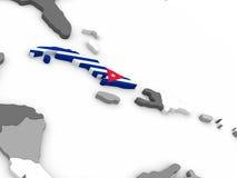 Cuba on globe with flag Stock Photos