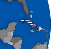 Cuba on globe with flag Stock Photography