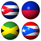 Cuba Haiti Jamaica Puerto Rico flags Royalty Free Stock Photo