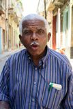 Old speaking friendly man of havana, Cuba stock photography