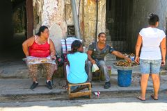 Cuban street vendors in the streets of Havana royalty free stock photo
