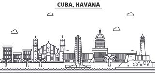 Cuba, Havana architecture line skyline illustration. Linear vector cityscape with famous landmarks, city sights, design. Icons. Editable strokes Stock Photo