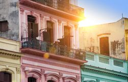 Cuba. Havana. Bright old balconies in the old city.  Stock Photo