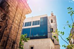 Cuba, Havana, two buildings nearby - old and modern Royalty Free Stock Photography