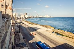 Cuba, Havana, embankment Malecon, fascinating cloudscape, skyline, dawn Royalty Free Stock Photos