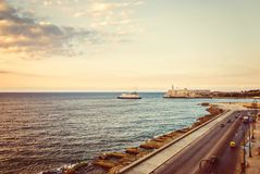 Cuba, Havana, embankment Malecon, fascinating cloudscape, skyline, dawn Stock Photography
