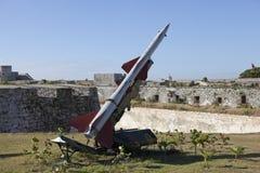 cuba havana FästningMorro- Cabana Utställningen av det sovjetiska vapnet ägnade till minnet av den karibiska kriskubanmissilen royaltyfria bilder