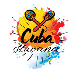 Cuba Havana logo. Hand lettering and colorful watercolor elements background. Vector illustration hand drawn isolated Stock Images
