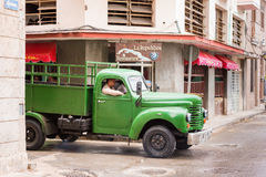 CUBA, HAVANA - MAY 5, 2017: American retro truck on city street. Copy space for text. Royalty Free Stock Image